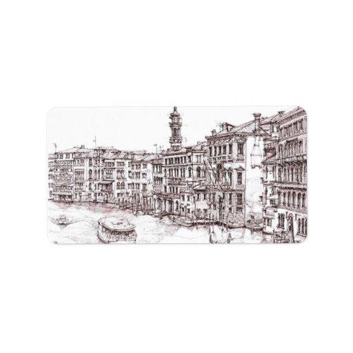 Dibujos italianos de la arquitectura etiqueta de dirección