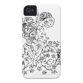Dibujos lineales delicados de la danza abstracta iPhone 4 Case-Mate cobertura