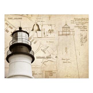 Dibujos medidos y planes de la luz principal de Po Postales