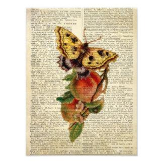 diccionario floral del vintage de la mariposa cojinete