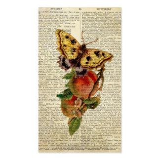 diccionario floral del vintage de la mariposa tarjetas de visita