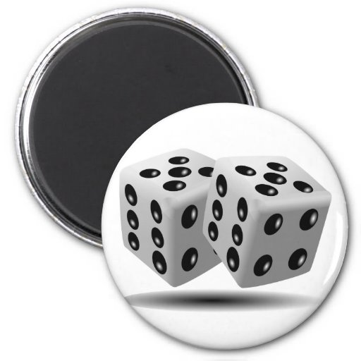 Dice 2 Inch Round Magnet