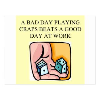 dice and  craps players postcard
