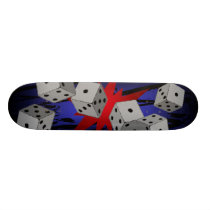 skateboarding, pro, skateboarder, rockstar, dice, blue, red, black, skateboard, game, games, poker, vagas, betting, dice games, Skateboard with custom graphic design
