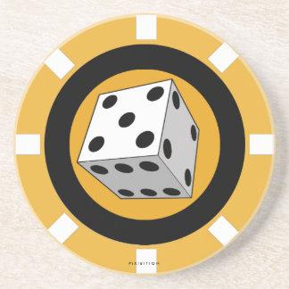 Dice Casino Chip Coaster Orange