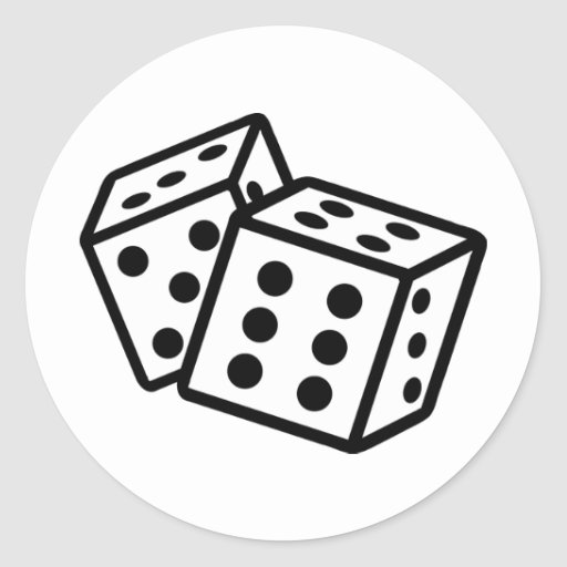 dice casino gambling round stickers
