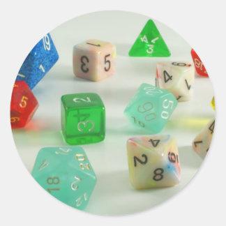 dice classic round sticker