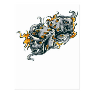 Dice Fire skull Postcard