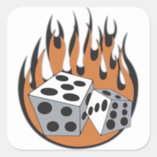 Dice Flames Square Sticker