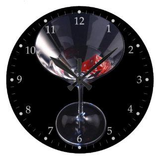 Dice Glass Large Clock