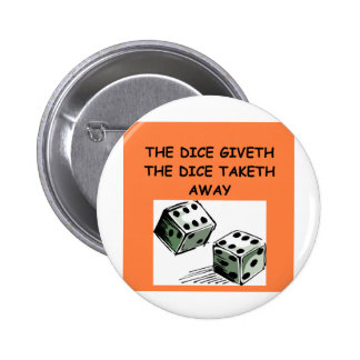 dice joke pinback button