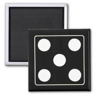 DICE numbers of pips white 5 + your backgr. Magnet