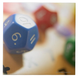 Dice on math game tile