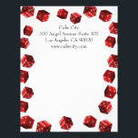 """Dice Players Letterhead<br><div class=""""desc"""">Stationery full of red dice. Great for craps shooters, casinos, Las Vegas based businesses and gaming device manufacturers. An original design by urbanphotos.net. You can change the text to your own name and address or delete it. You may also move around and enlarge or reduce the red dice. Just click...</div>"""