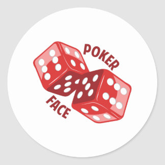 Dice_Poker_Face Classic Round Sticker