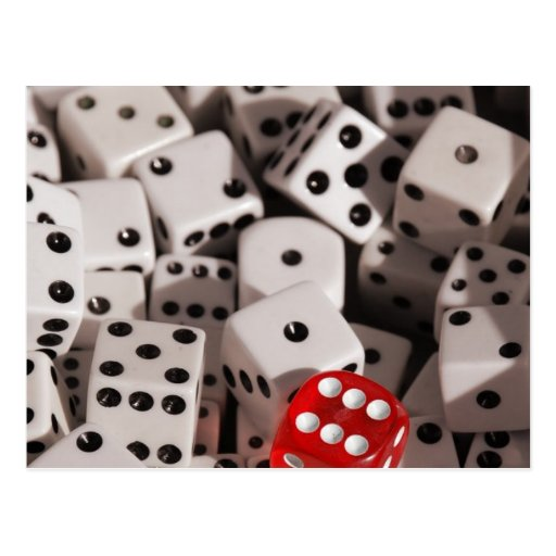 Dice - Red Color Spash Post Cards