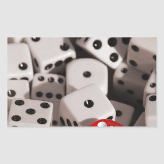 Dice - Red Color Spash Rectangular Sticker