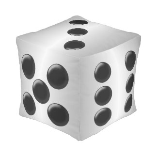 Dice Silver Coloured Cube Pouf