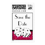 Dice Theme Save the Date Pink Black & White Postage Stamps