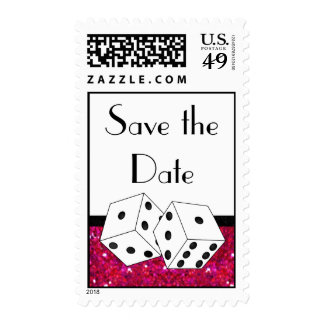 Dice Theme Save the Date Pink Black & White Stamp