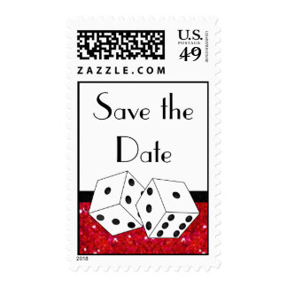 Dice Theme Save the Date Red Black & White Postage