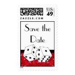 Dice Theme Save the Date Red Black & White Stamp
