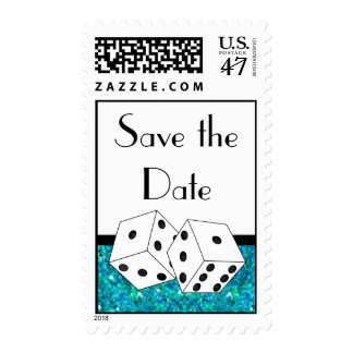 Dice Theme Save the Date Teal Black & White Postage