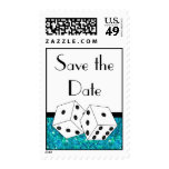 Dice Theme Save the Date Teal Black & White Stamp