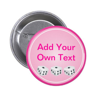 dice with pink circle customizable 2 inch round button