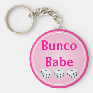 dice with pink circle customizable basic round button keychain