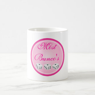 dice with pink circle customizable coffee mug