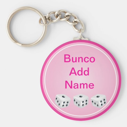 dice with pink circle customizable keychain