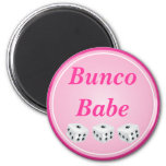 dice with pink circle customizable 2 inch round magnet