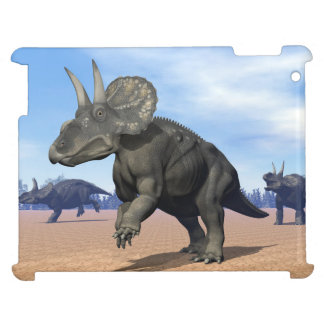 Diceratops/nedoceratops dinosaurs in the desert cover for the iPad