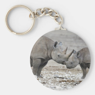 Diceros Bicornis del rinoceronte negro de la madre Llaveros Personalizados