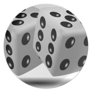 Dices Game Gambling Cubes Numbers Luck Random Dinner Plate