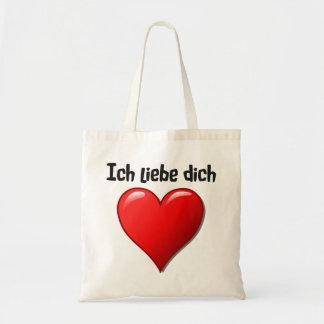 Dich del liebe de Ich - te amo en alemán Bolsa Tela Barata