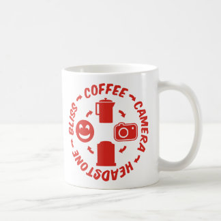 Dicha de la lápida mortuoria de la cámara del café taza de café