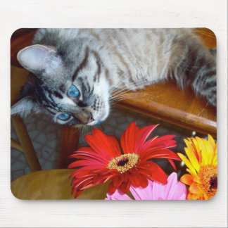 Dicha Mousepad de la flor del gato de Louie