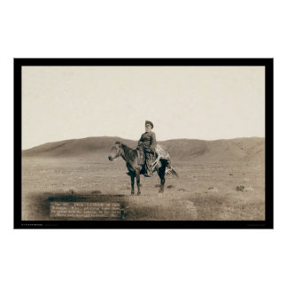 Dick Latham Riding on Open Plains WY 1888 Poster