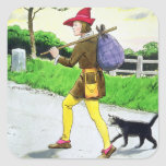 Dick Whittington (1358-1423) y su gato, del 'PE Calcomanía Cuadrada Personalizada