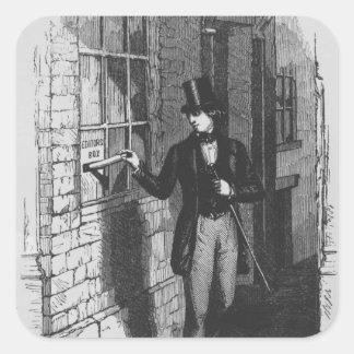 Dickens que coloca su primer literario calcomanía cuadradas