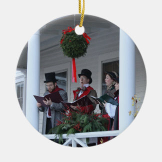 Dickensian Carolers Double-Sided Ceramic Round Christmas Ornament