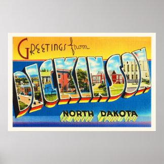 Dickinson North Dakota ND Vintage Travel Souvenir Poster