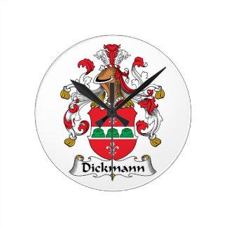 Dickmann Family Crest Round Wallclock