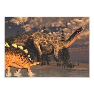 Dicraeosaurus and kentrosaurus dinosaurs - 3D rend Card