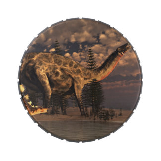 Dicraeosaurus and kentrosaurus dinosaurs - 3D rend Jelly Belly Tins