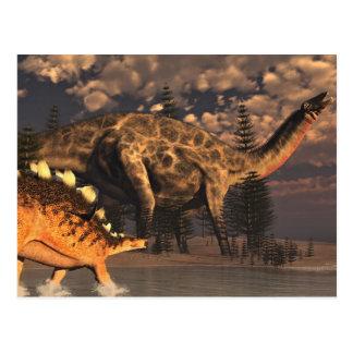 Dicraeosaurus and kentrosaurus dinosaurs - 3D rend Postcard