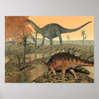 Dicraeosaurus and kentrosaurus dinosaurs poster