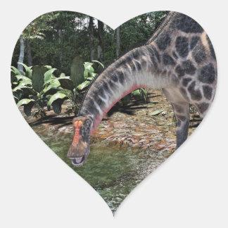 Dicraeosaurus Dinosaur Feeding on a River Heart Sticker